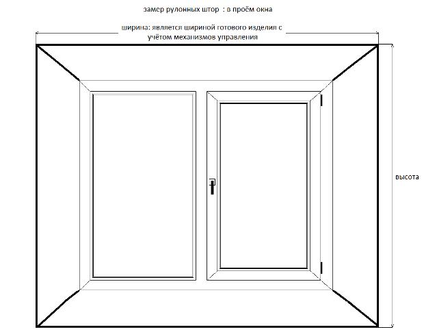 Схема замера рулонных штор для